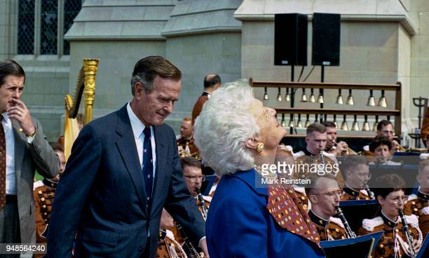 View of US President George HW Bush and First Lady Barbara Bush during the dedication ceremony of the National Cathedral, Washington DC, September...