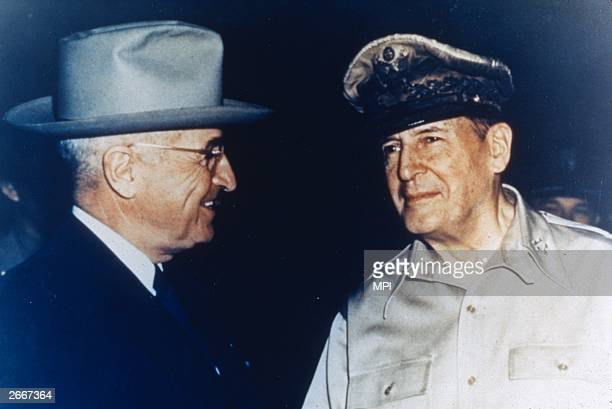 US President Harry S Truman and General Douglas MacArthur on Wake Island in the pacific Truman dismissed MacArthur from the Korean command a year...