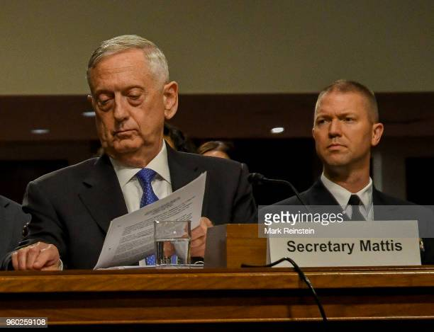 View of US Secretary of Defense Jim Mattis as he appears before the Senate Armed Services Committee during a budget hearing, Washington DC, June 13,...