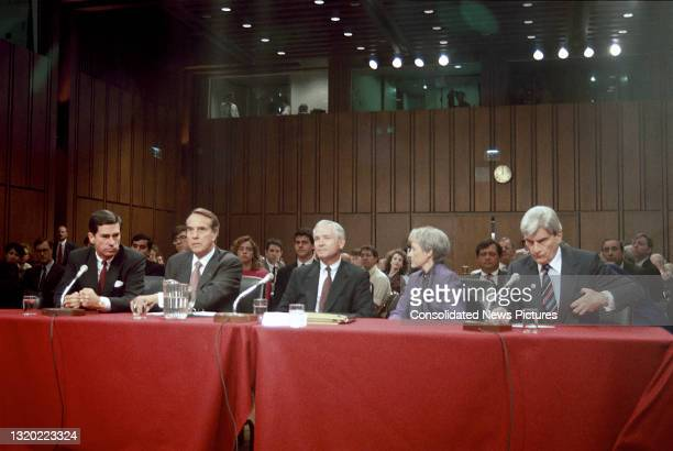 View of US Secretary of Defense-designate Dr Robert Gates as he waits to be introduced before his confirmation hearings before the United States...