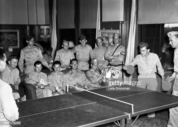 View of USO members playing ping pong circa 1945 in Nashville, Tennessee.