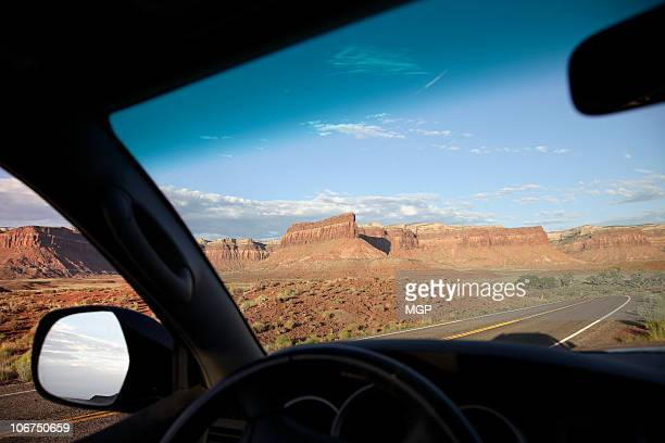View of Utah, Canyonlands from driver POV
