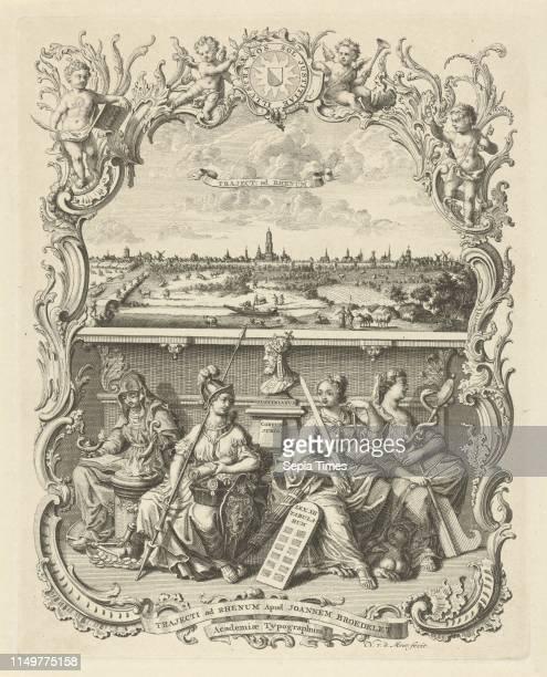 View of Utrecht and the four cardinal virtues, Noach van der Meer , Johannes Broedelet, 1745