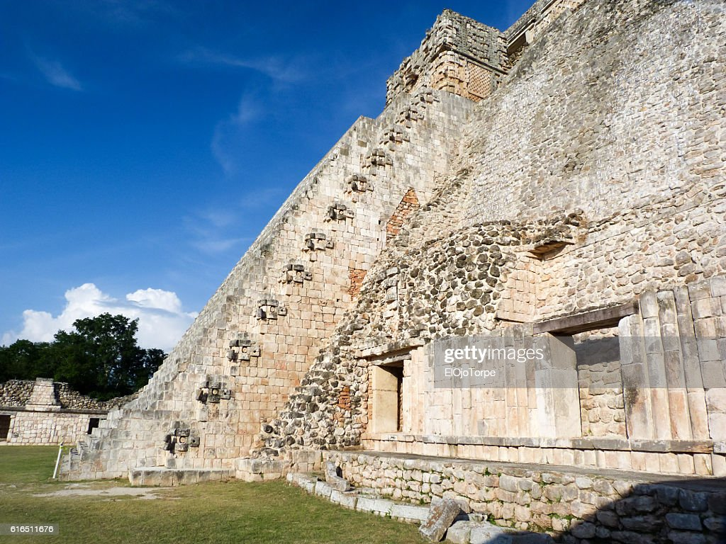 View of Uxmal pyramid, Mexico : Stock Photo
