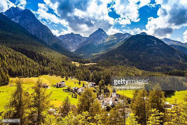 View of valley and mountains, Engadin, Switzerland