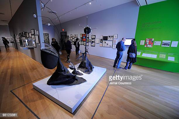 View of various creations by artist and film maker Tim Burton on display at the Tim Burton media preview at The Museum of Modern Art on November 17,...
