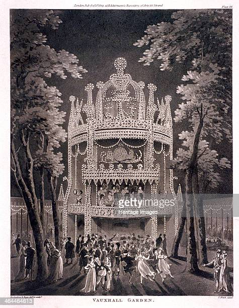 View of Vauxhall Gardens Lambeth London 1809 a night scene with figures dancing