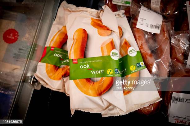 View of vegetarian smoked sausage in the HEMA chain store on October 22, 2020 in Dordrecht, Netherlands. HEMA wants to start selling vegetarian and...