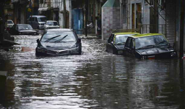 A view of vehicles and houses submerged in floodwater after heavy monsoon rains hit the city of Rawalpindi Pakistan on August 25 2017 Heavy monsoon...