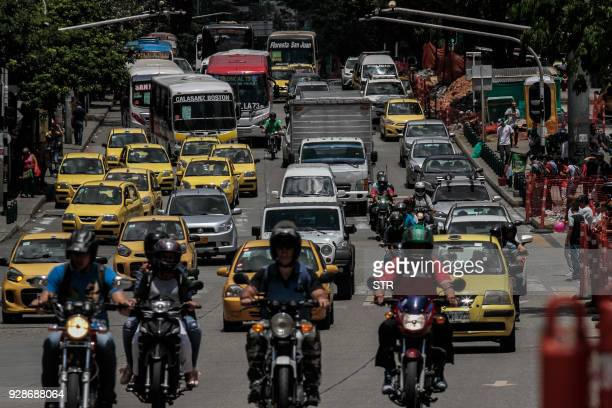 View of vehicles in a heavy traffic along Oriental avenue in Medellin northwest Colombia on March 7 2018 Medellin the second most populated city of...