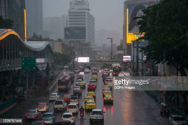 View of vehicles in traffic on Ratchadamri Road during a Rainy Day.