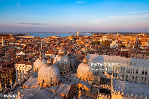 view of venice and the lagoon from the top of campanile di san marco in saint mark square - san bruno stock pictures, royalty-free photos & images