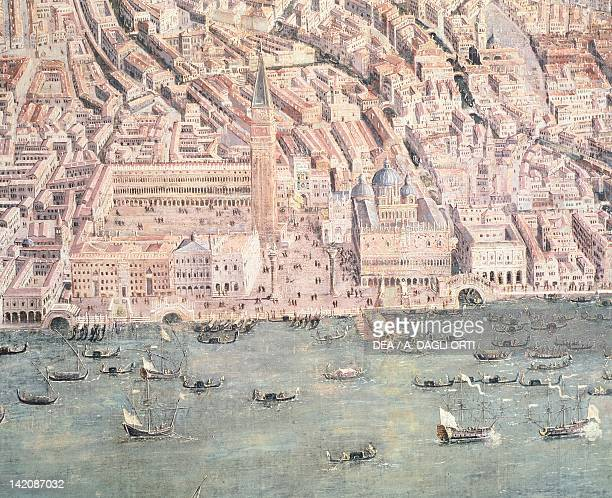 View of Venice showing Piazza San Marco and The Doge's Palace Italy 17th Century Detail