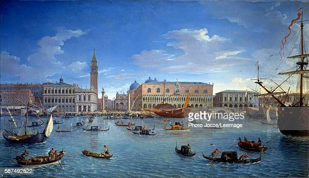 View of Venice the pier the square and the Doge's Palace from the Island of San Giorgio Painting by Gaspare Vanvitelli 1697 174 x 098 m Prado Museum...