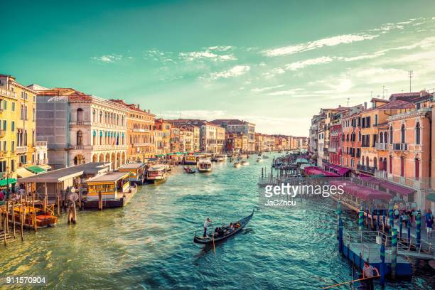 view of venice's grand canal - venezia foto e immagini stock