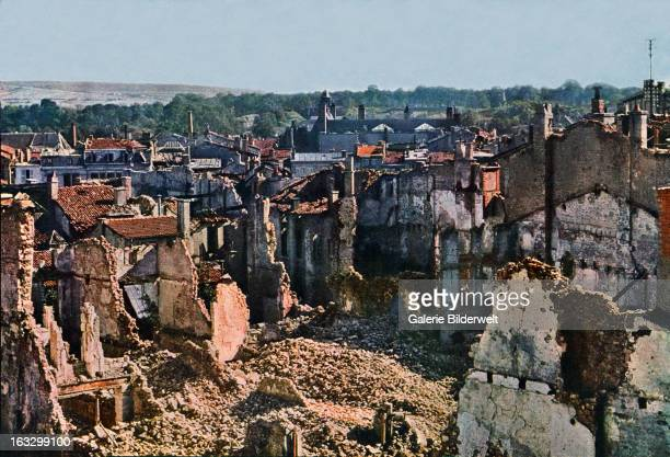 View of Verdun after 8 months of bombing September 1916 Battle of Verdun Western Front World War I France Autochrome Lumière Photo Jules...