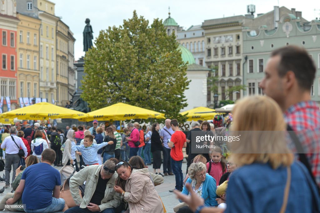 A view of very busy Krakow's Main Market Square. On Wednesday, August 22, 2017, in Krakow, Poland.