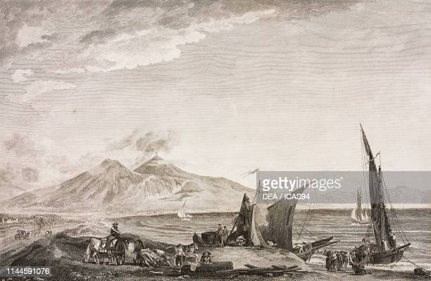 View of Vesuvius and the Gulf of Naples from Dogana di Terra Campania Italy engraving from Voyage pittoresque ou description des royaumes de Naples...