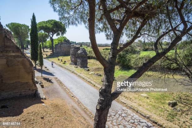 View of Via Appia (Appian Way), ancient roman road to southern Italy