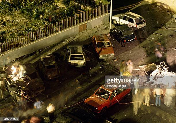 A view of Via D'Amelio after the mafia bombing that killed Italian antimafia judge Paolo Borsellino and five members of his police escort on July 19...
