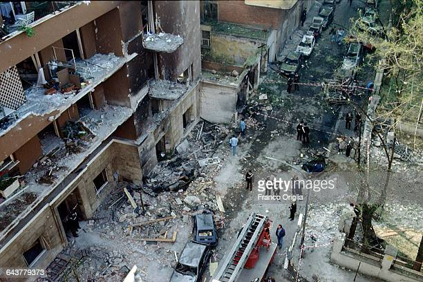 A view of Via D'Amelio the day after the mafia bombing that killed Italian antimafia judge Paolo Borsellino and five members of his police escort on...