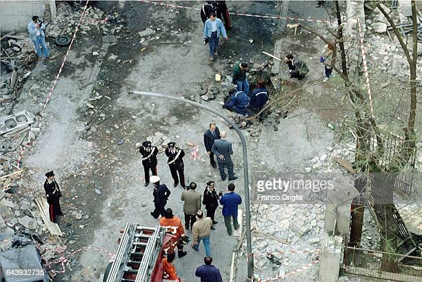 PALERMO ITALY JULY 20 A view of Via D'Amelio the day after the mafia bombing that killed Italian antimafia judge Paolo Borsellino and five members of...
