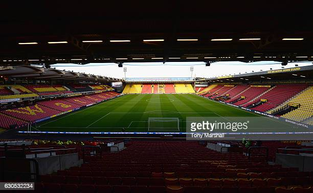 A view of Vicarage Road home of Watford FC before the Barclays Premier League match between Watford and Crystal Palace at Vicarage Road on December...
