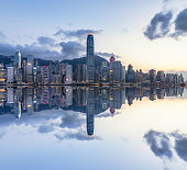 view of victoria harbor in Hong Kong