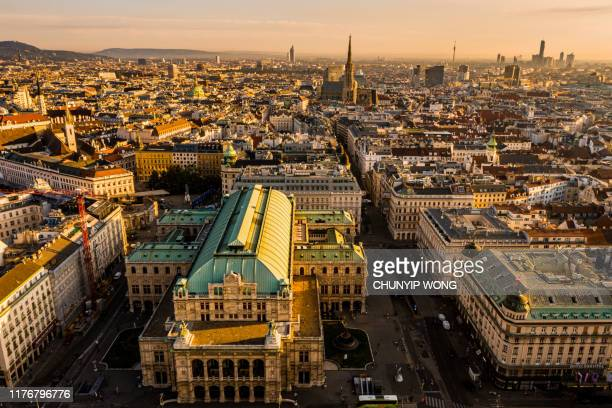 view of vienna in the sunrise, austria - vienna state opera stock pictures, royalty-free photos & images