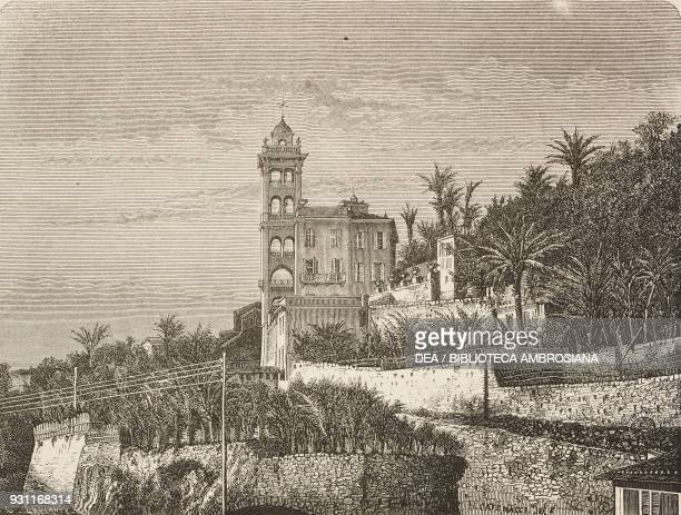 View of Villa Garnier Bordighera Italy drawing by Hercule Catenacci from a photograph from Mentone and Bordighera by Adolphe Joanne from Il Giro del...
