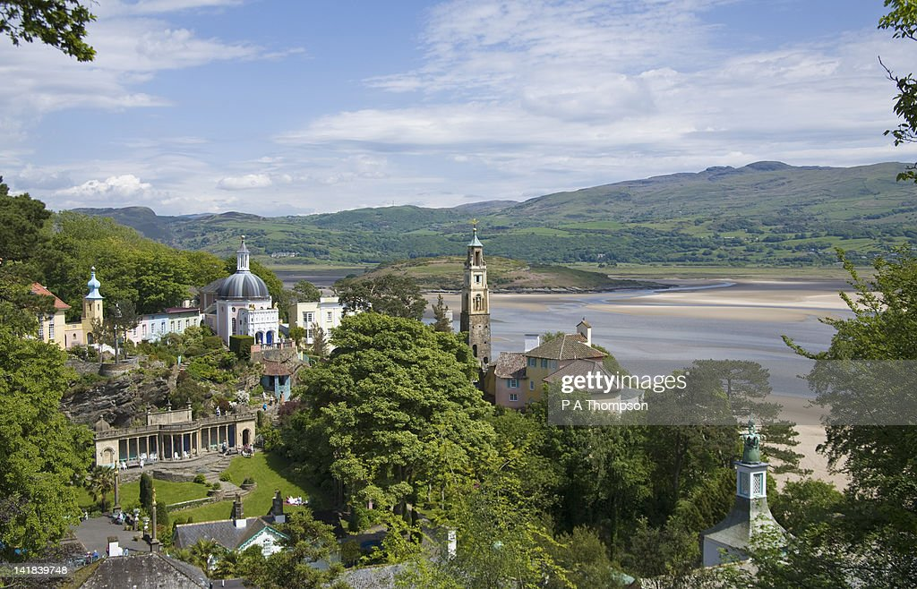 View of village and Whitesands Bay, Portmeirion, Wales : Stock Photo