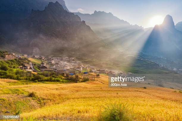view of village houses surrounded by mountains and golden fields, zhagana, gansu, china - gansu province stock pictures, royalty-free photos & images