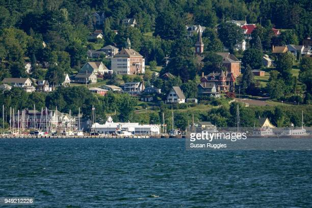 view of village of bayfield, madeline island ferry - village_(wisconsin) stock pictures, royalty-free photos & images