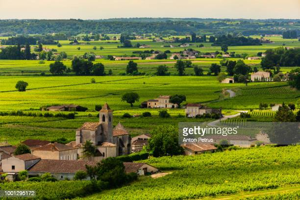 View of vineyards and old French villages. Bordeaux, France