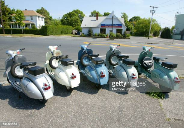 A View Of Vintage Vespas On Sale At Magrett's Auto Is Shown May 27 2002 In Bridgehampton Ny The Hamptons Located On The Tip Of Long Island Is A...