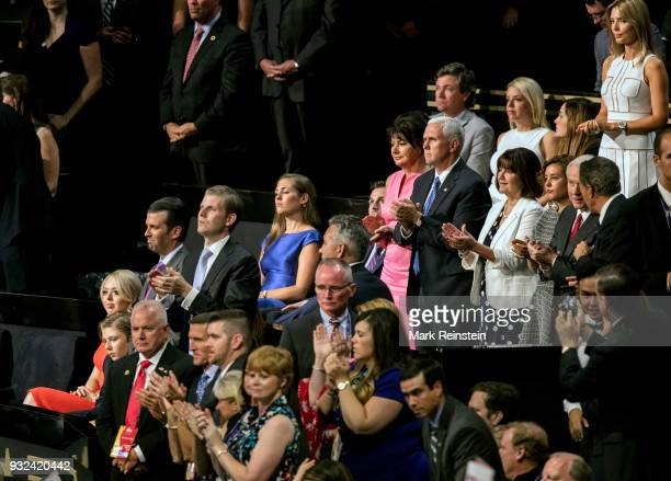 View of VIP attendees in the audience on the final day of the Republican National Convention at Quicken Loans Arena Cleveland Ohio July 21 2016 Among...