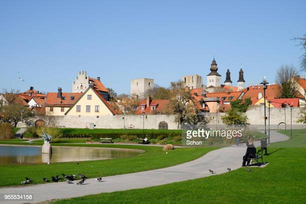 View of Visby from Almedalen in the spring in the daylight