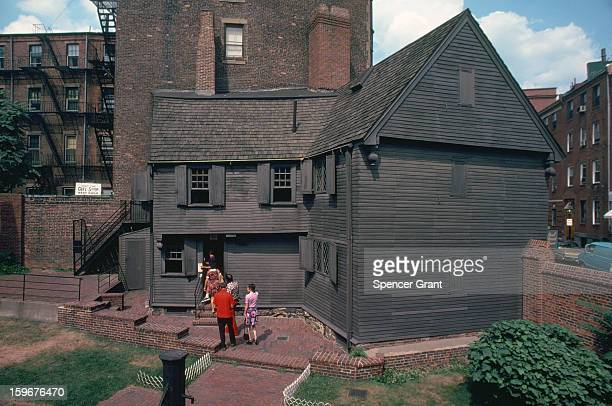 View of visitors at Paul Revere's historic house in the North End neighborhood Boston Massachusetts 1979