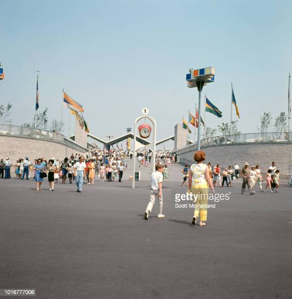 View of tourists inside the Main Gate at the World's Fair in Flushing Meadows Park Queens New York New York June 1965