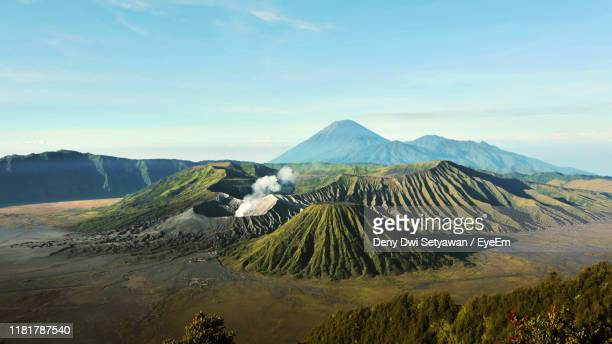 view of volcanic landscape against sky - bromo tengger semeru national park stock pictures, royalty-free photos & images