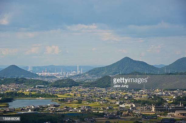 view of volcanic mountains - kagawa ストックフォトと画像