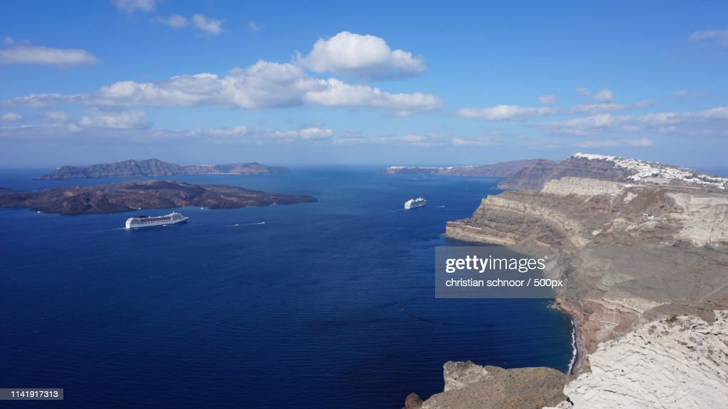 View Of Volcano Caldera In Athinios On Santorini High Res