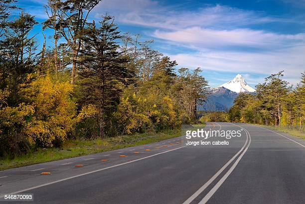 view of volcano puntiagudo from the road. - chilean lake district stock photos and pictures
