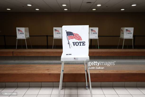 View of voting booths at the Santa Clara County registrar of voters office on October 13, 2020 in San Jose, California. The Santa Clara County...
