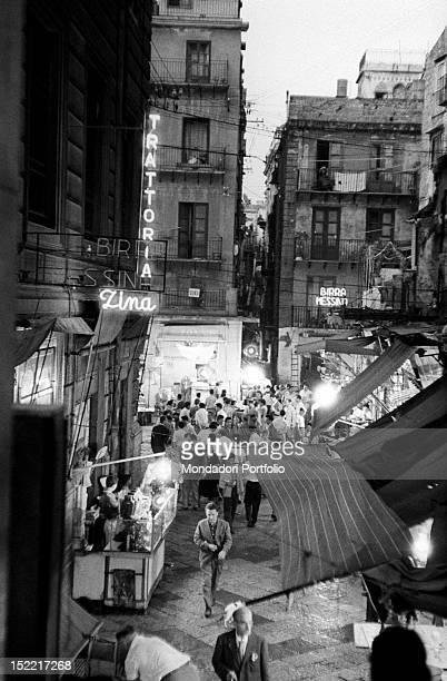 View of 'Vucciria' quarter Palermo 1956