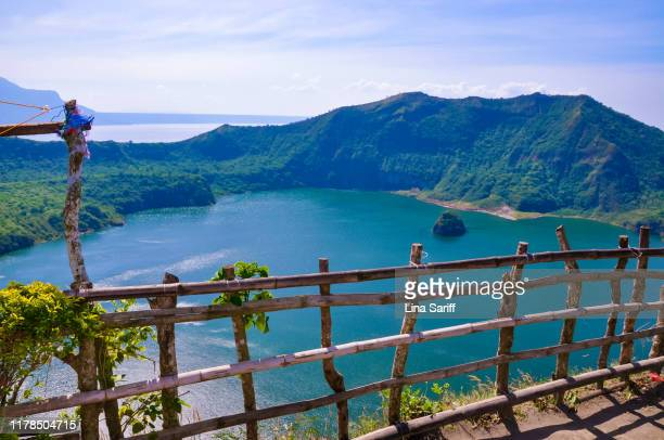 view of vulcan point island in crater lake, taal volcano in tagaytay, philippines. - taal volcano stock photos and pictures