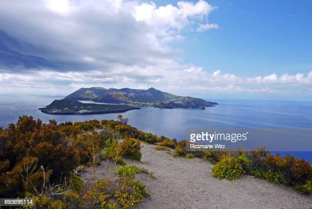 View of Vulcano Island, seen from Lipari, Aeolian Islands, Sicily