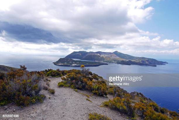 View of Vulcano Island, seen from Lipari, Aeolian Islands, Sicily