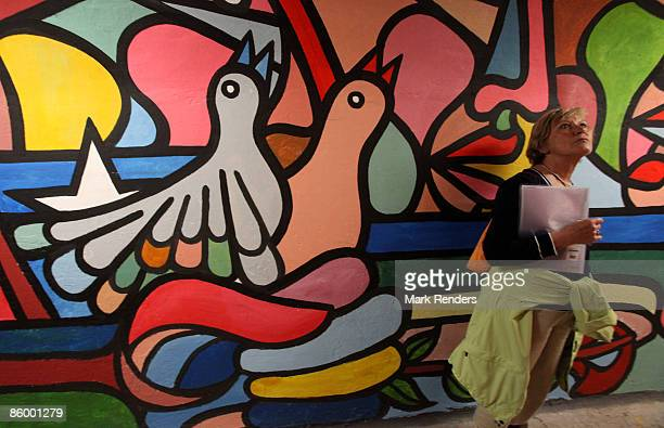 A view of wall paintings in a tunnel called 'Saquando nuestra historia' by Brigada Ramona Parra on April 11 2009 in De Haan Belgium The art show...