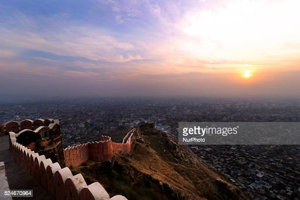 A view of Walled city of Jaipur from the Nahargarh Fort hills during the last Sunset of the year 2015 in Jaipur India 31 Dec 2015